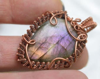 Labradorite Wire wrapped copper wire pendant