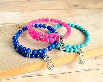 bohemian bracelet, mala bracelet, yoga, hamsa, boho jewelry, gift for her, under 20
