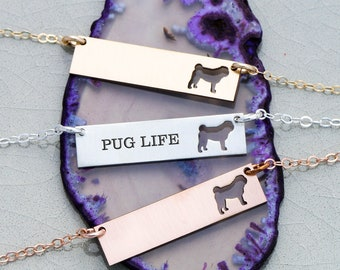 Pug Dog Bar Necklace • Pug Custom Silver Dog • Pug Gift Idea Silver Pet Memorial Rose Gold Pet Necklace Gold Pet Charm Pug Jewelry