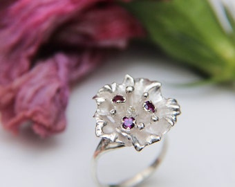 Sterling silver flower ring with pink rhodolite gemstones, romantic floral jewelry, garnet ring, unique gift for woman, statement ring