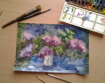 Lilac Watercolor Painting Small Watercolor Original Watercolor Painting Artwork Flower Wall Art Home decor Watercolor etude Lilac with mood