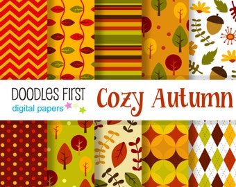 Cozy Autumn Digital Paper Pack Includes 10 for Scrapbooking Paper Crafts