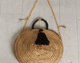 round straw bag/straw bag/vintage/tote bag/boho/personalized gift/handmade/gift/cross body bag/boho clothing/beach/handbag/boho bag
