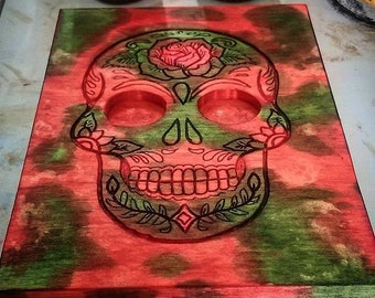 Handmade Color Stained Sugar Skull