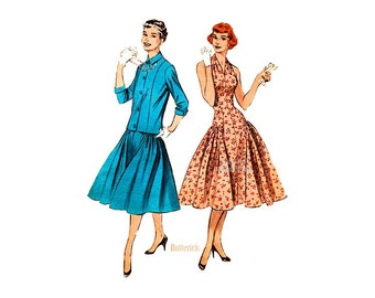 1950s Halter Dress Pattern Butterick 7244, Fitted Bodice, Full Skirt Drop Waist Dress with Jacket, Vintage Sewing Patterns, Uncut