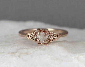 Rose Gold Celtic Knot Uncut Diamond Ring - Raw Diamond Engagement Ring - Rough Diamond Wedding Ring - Made in Canada