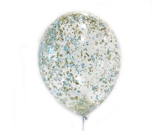 Or métallisé bleu ciel Confetti ballon - 11 16 24 36 pouces taille - bachelorette party paillettes anniversaire nuptiales de douche de mariage