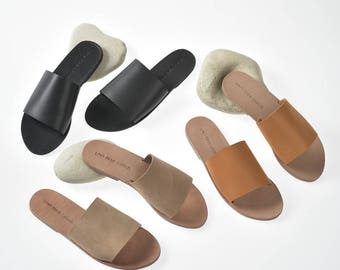 Minimalist Basic Akamas leather slides, artisan leather sandals. Available in tan / sand / black leather. FREE DHL SHIPPING