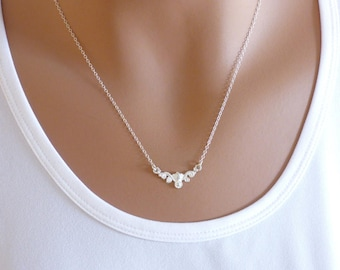 Sterling Silver Flower Necklace, Silver Charm Necklace, Simple Necklace, Dainty Necklace, Unique Necklace, KR 561