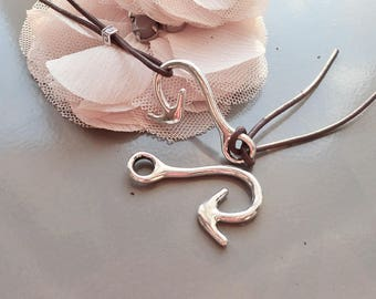 2 lobster claw clasps, anchor, silver lobster clasp for spirit bracelet