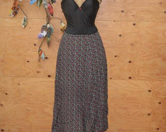Vintage 80's Skirt Black & Red On Black Floral Print Rayon Material A-line Maxi SZ S