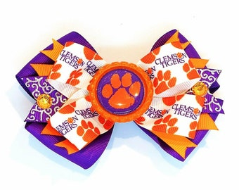Clemson Tigers University Hair Bow Headband Paw Power Print