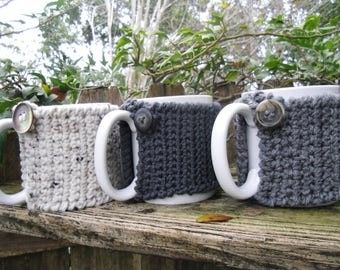 Tea or Coffee mug Cozy in Oatmeal, Med Charcoal, or Heather Gray,   cup cozy, mug sweater, mug cover