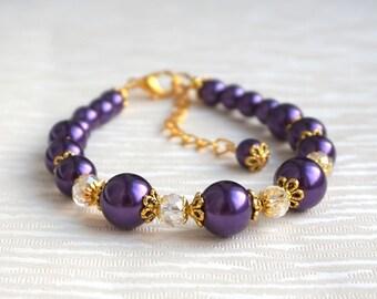 Purple Bridesmaid Bracelet, Dark Purple Gold Bridesmaid Bracelet, Pearl Bridesmaid gift, Pearl Bridesmaid jewelry, Purple wedding party