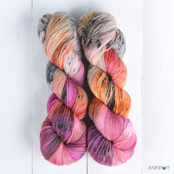 recommended dyers - Papiput Yarn's Hand Dyed Tough Sock Yarn, colorway