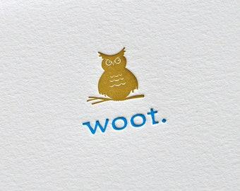 Woot Owl Letterpress Card & Envelope