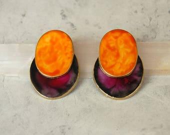 Clay earrings, Orange Earrings,Purple Earrings, Porcelain Earrings, Large Statement Earrings, Big Earrings, Stude Large, Gift Ideas