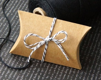 "10 Mini Kraft Pillow Boxes for Treats, Packaging & Gift Wrap . 2""x .75""x 3"""