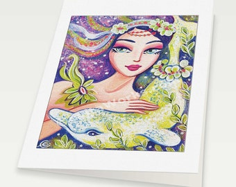 Dolphin mermaid art, mermaid print, mermaid wall art affordable art gifts, woman card, blank art card, 6x8