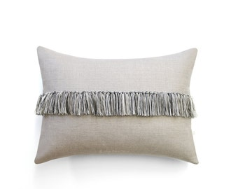 Black and Cream Fringe Tassel Cushion Cover in Natural Linen - Hand Knotted Accent Pillow by JillianReneDecor - Modern Home Decor - Boho