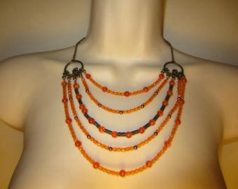 Orange multi strand necklace