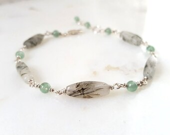 Gemstone Stacking Bracelet, Green Aventurine Moss Rotile Quartz Sterling Silver Modern Station Bracelet, Handmade Layering Chain Life Bijou