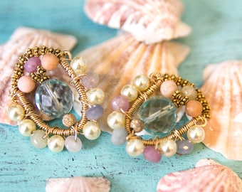 Earrings, Wirewrapped Earrings, Button Earrings, Mid Century Style Earrings, Gemstone Earrings, Gold Fill Earrings