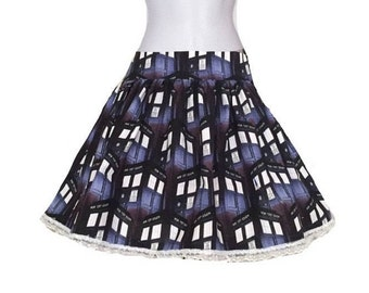 Doctor Who Skirt, Tardis women's skirts, Dr Who plus size skirt, Whovian clothing, Sci- Fi Custom cosplay, Geeky Gifts Cyber Sale