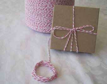 Pink Cotton Twine, Pink String, Pink Twine, Colored String, Bakers Twine, Bakery Twine, Box Twine, Gift Wrap, On Wood Spool, 50 Yards