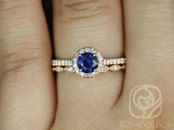 Rosados Box Kubian 0.63cts & Ultra Petite Leah 14k Rose Gold Round Blue Sapphire and Diamonds WITHOUT Milgrain Wedding Set