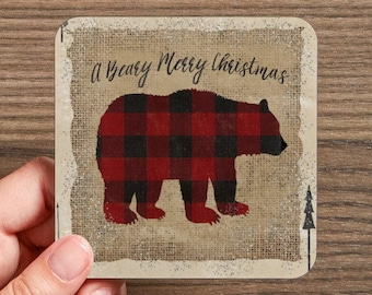 A Beary Merry Christmas Coaster  (4 coasters in a set)