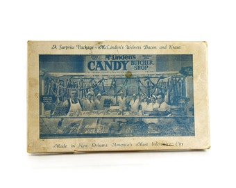 Vintage Candy Box, McLinden's Butcher Shop, Candy Bacon, New Orleans, Quirky Home Decor