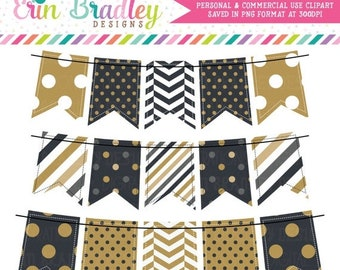 80% OFF SALE New Years Black & Gold Bunting Clipart Holiday Clip Art Graphics Banner Flags