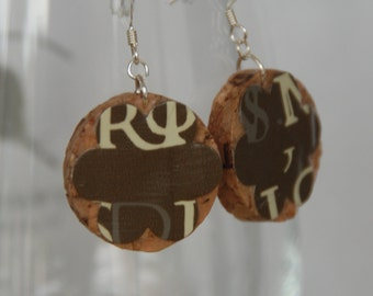 Letter Wine Cork Earrings