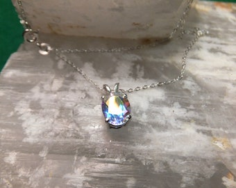 "9x7mm Tropic Topaz & Sterling Silver 18"" Necklace"