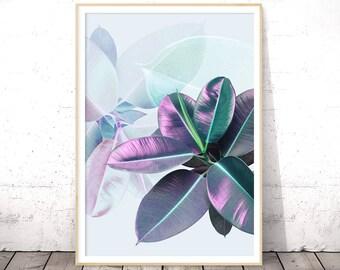 Boho Gift for Sister, Plant Leaf Wall Art, Faux Metallic, Digital Download, Ficus Elastica, Modern Home Decor, Tropical Poster, Ultra Violet