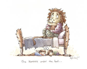 The Monsters Under the Bed - Daily Drawing Series Art Print