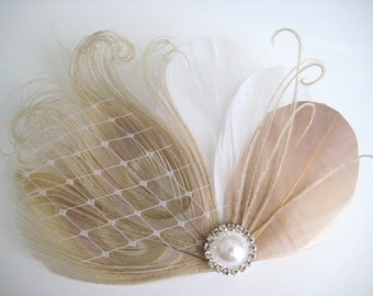 Wedding Bridal White Ivory Champagne Peacock Feather Pearl Rhinestone Head Piece Hair Clip Fascinator