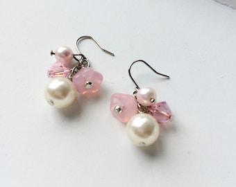 Bridal pink dangle earrings. Simple dainty earrings for everyday. Bridesmaids pink dangle earrings.