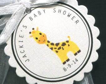 Personalized Baby Shower Favor Tags, giraffe, set of 25 round scallop tags