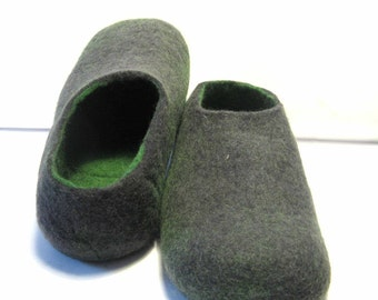 Mens Felt Slippers Black Green Slippers Men, Slip on Shoes Mens Clogs Oragnic Wool for added Warmth and Comfort Gum Rubber Outsoles Non Slip