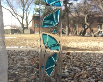 Turquoise Flowers Fused Stained Glass Suncatcher