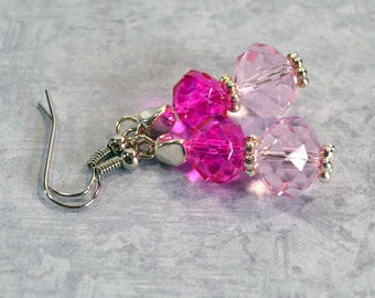 Pink on Pink Earrings: Woman's Dangle Earrings, Nickle-Free Earrings, Think Pink Earrings, Handmade in the USA, Ready to Ship
