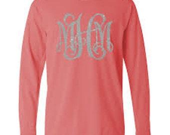 Glitter Monogram Shirt, Comfort Colors Long Sleeve Shirt, Monogram Shirt