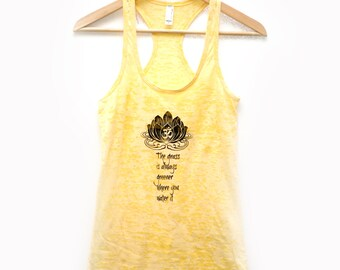 sunshine yellow yoga tank top - burnout fabric - the grass is always greener where you water it
