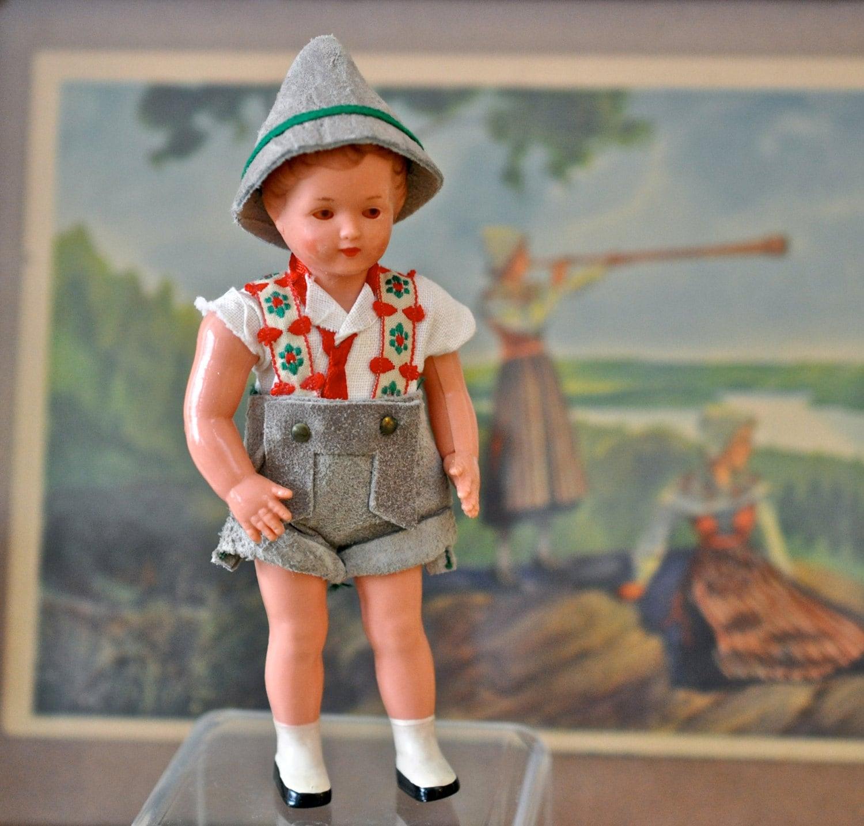 Vintage Celluloid Sleepy Eye German Doll Boy in Lederhosen