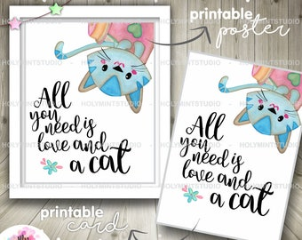 Cat Poster, Cat Print, Cat Quote, COMMERCIAL USE, Cat Card, Cat Wall Art, Home is where the cat is, Digital Poster, Digital Card
