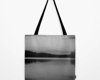 Tote Bag Black and White Photography Landscape Photos, Reusable Grocery Bag, Boundary Waters, Nature Gift Mom Tote Bag, Minnesota Print