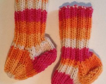 Handmade babys wool socks