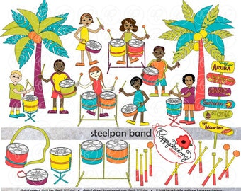 Steelpan Band: Clip Art Pack (300 dpi) Digital Images Children Steelpan Caribbean Steel Pan Palm Trees Caribbean Islands Music Teacher